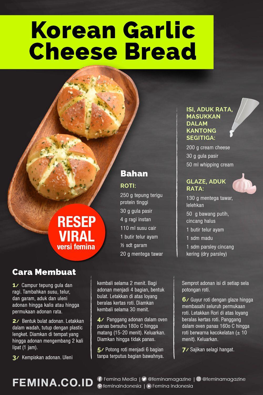 Resep Korean Garlic Cheese Bread Yang Sedang Viral Ide Makanan Resep Makanan Makanan Dan Minuman