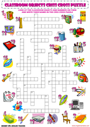 classroom objects supplies criss cross puzzle vocabulary worksheet ...