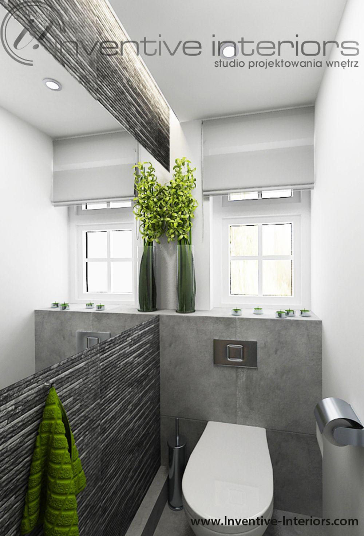 Projekt łazienki Inventive Interiors - szare płytki imitujące kamień w małej łazience  Płytki ...