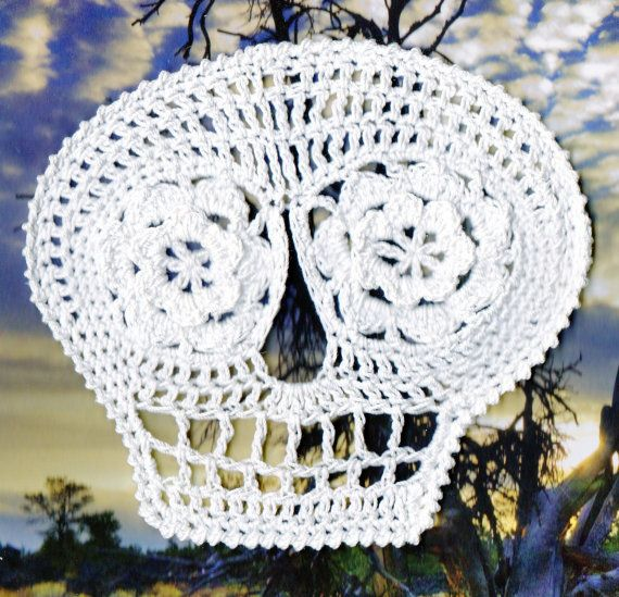 Blanca Day Of the Dead Crochet Skull Applique by spidermambo, $5.00 ...