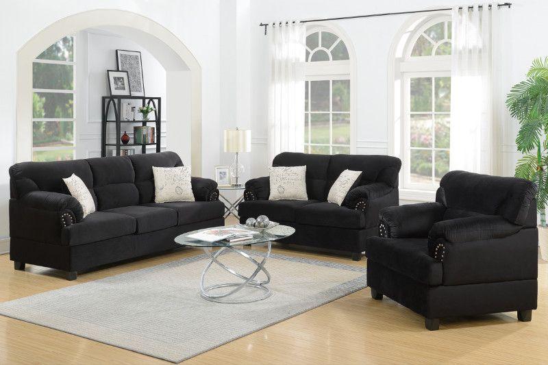 Poundex F7975 3 Pc Brisha Black Microfiber Fabric Upholstered Sofa Love Seat And Chair Set Nail Head Trim Sectional Living Room Sets Living Room Sets Living