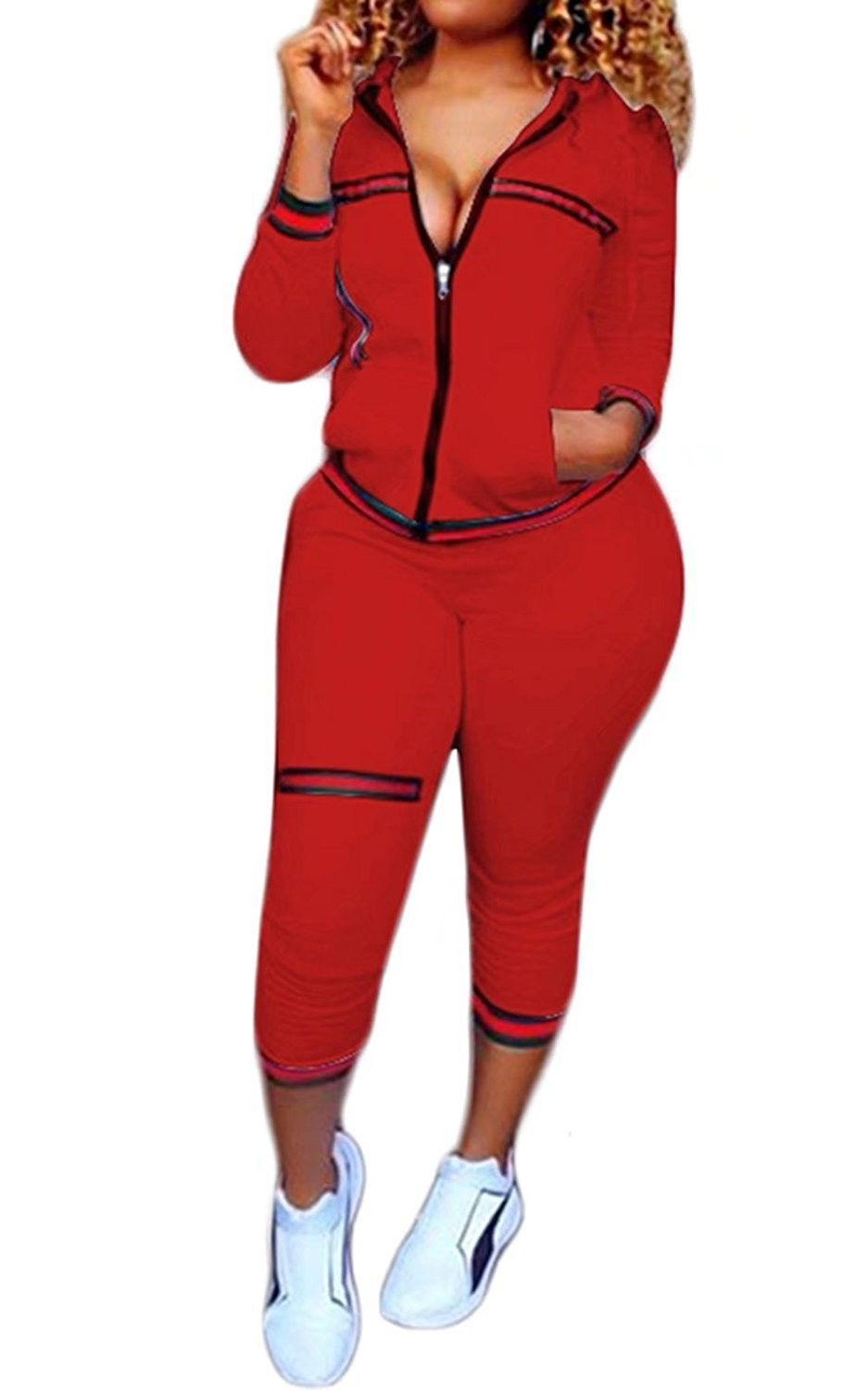 Womens 2 Piece Outfits Tracksuits Hooded Jacket Bodycon Pants Joggers Set -  Red - C41899MT6W9   Womens joggers outfit, Fresh outfits, Outfit sets