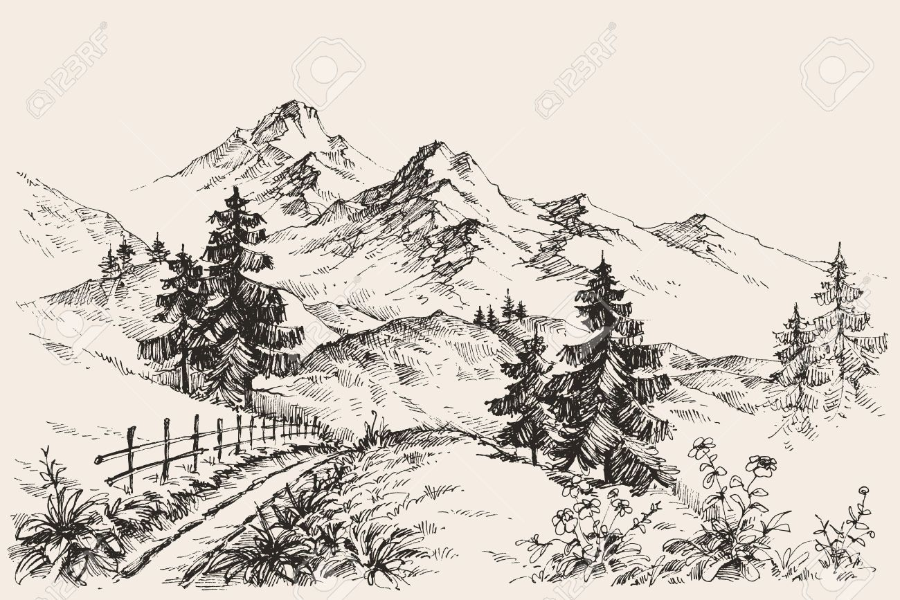A path in the mountains sketch royalty free cliparts vectors and stock illustration image 53513232