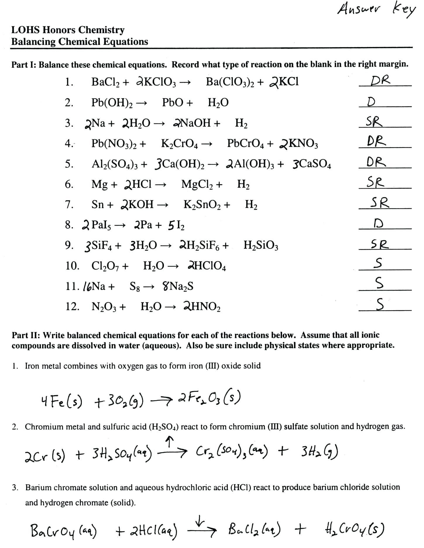 Types Of Reactions Worksheet Types Reactions Chemistry