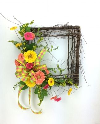 Square Spring Wreath, Woodland Spring Wreath With Gerber Daisies By  Www.southerncharmwreaths.com