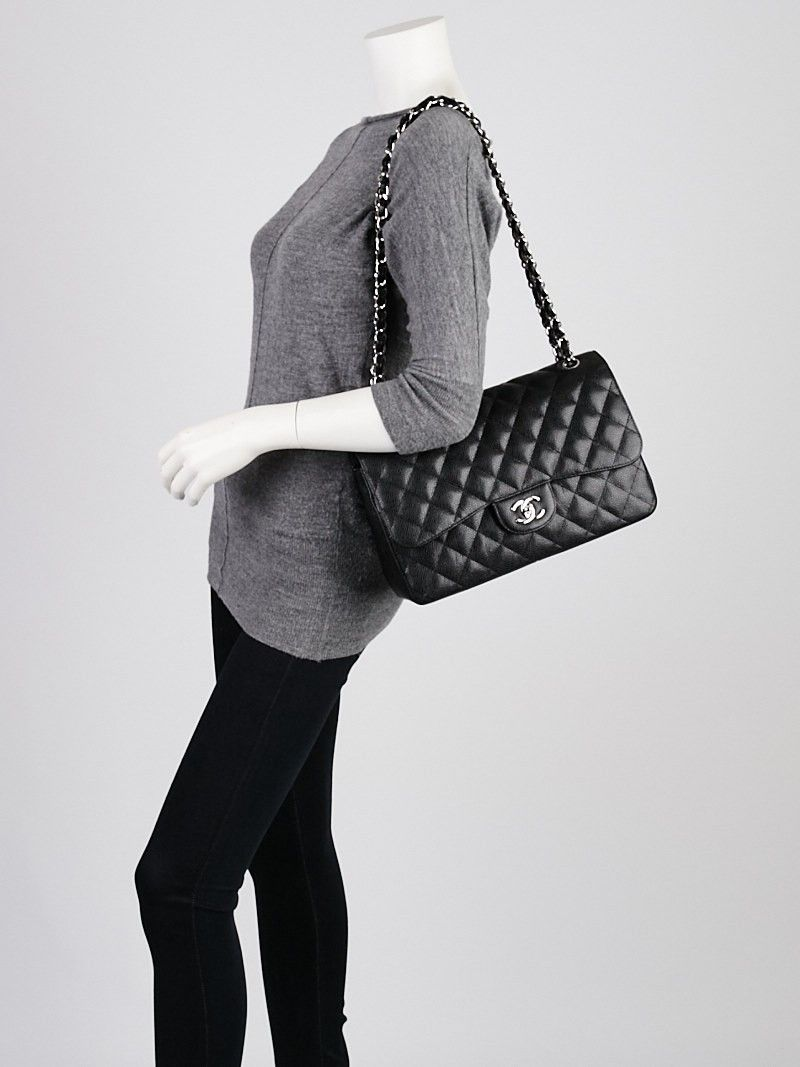 Chanel Black Quilted Caviar Leather Classic Jumbo Double Flap Bag Used Chanel Bags Chanel Chanel Jumbo Caviar