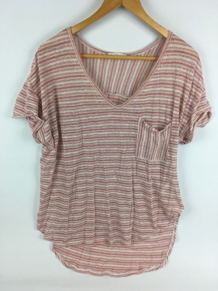 90e2f98ee7d Womens L XL Lush Tunic Top Striped Lightweight Casual Pocket Tee Pale Pink  White #Lush #Top #Casual