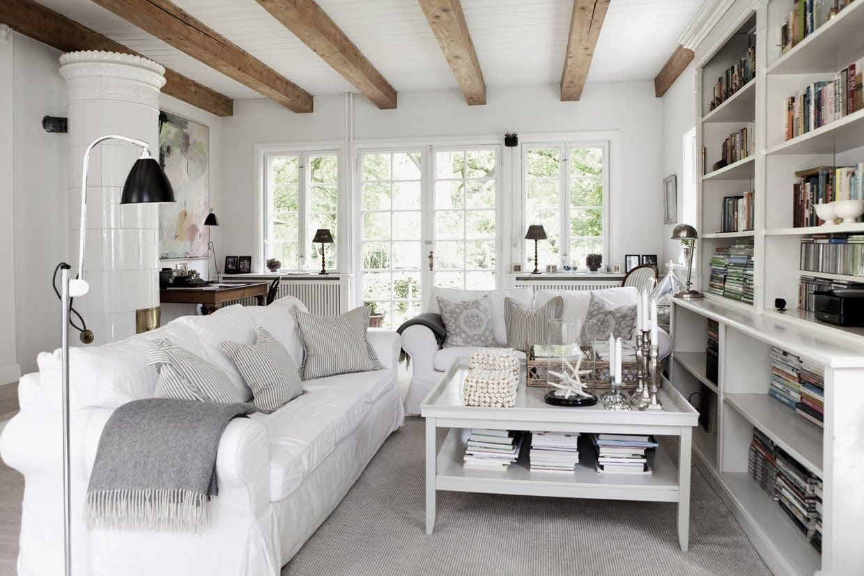 Decoration, White Wall And Ceiling Color Rustic Living Rooms With ...