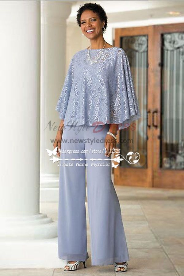 Mother Of The Bride Pant Suits Blue Chiffon Outfit With Lace For Summer Wedding Nmo