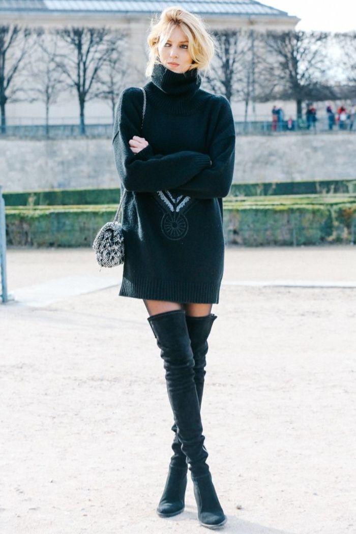 minelli chaussures noires pour la femme moderne avec cheveux blonds