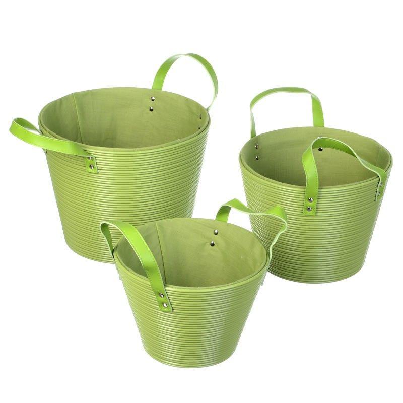 Disponible sur Boutiquedubain.com ! Set de 3 Paniers Rond Vert