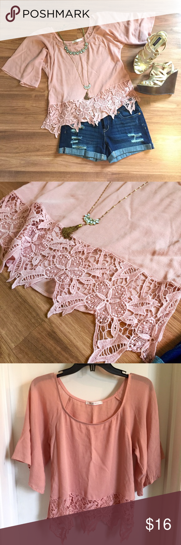 Rose blush pink crochet flutter sleeve top Beautiful blush colored top. Last two pictures show true color. Crochet hem detail. Flutter bell sleeve. Dress up or down. Light weight and soft. Great condition! OPEN TO OFFERS! DISCOUNTS ON BUNDLES! Francesca's Collections Tops