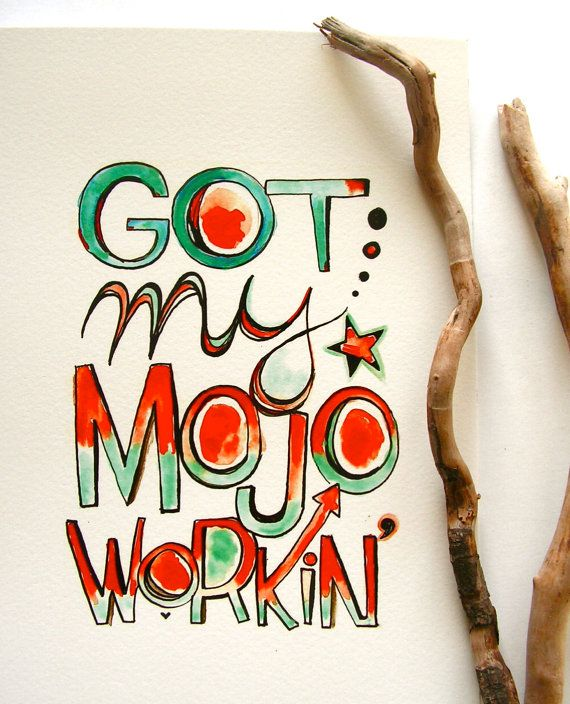 My newest hand lettered type, for music lovers and workin'-mojo men. $12 Exclusive 10% off coupon code PIN10