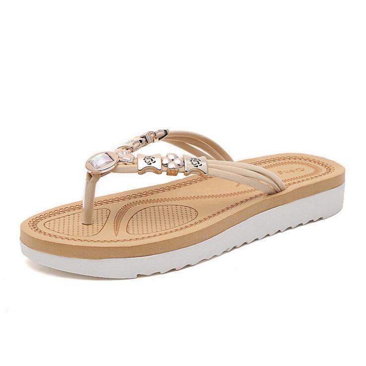 5657de00863125 New listing hot sales fashion brand summer breathable Women Metal bead Flip  Flops women shoes 8767