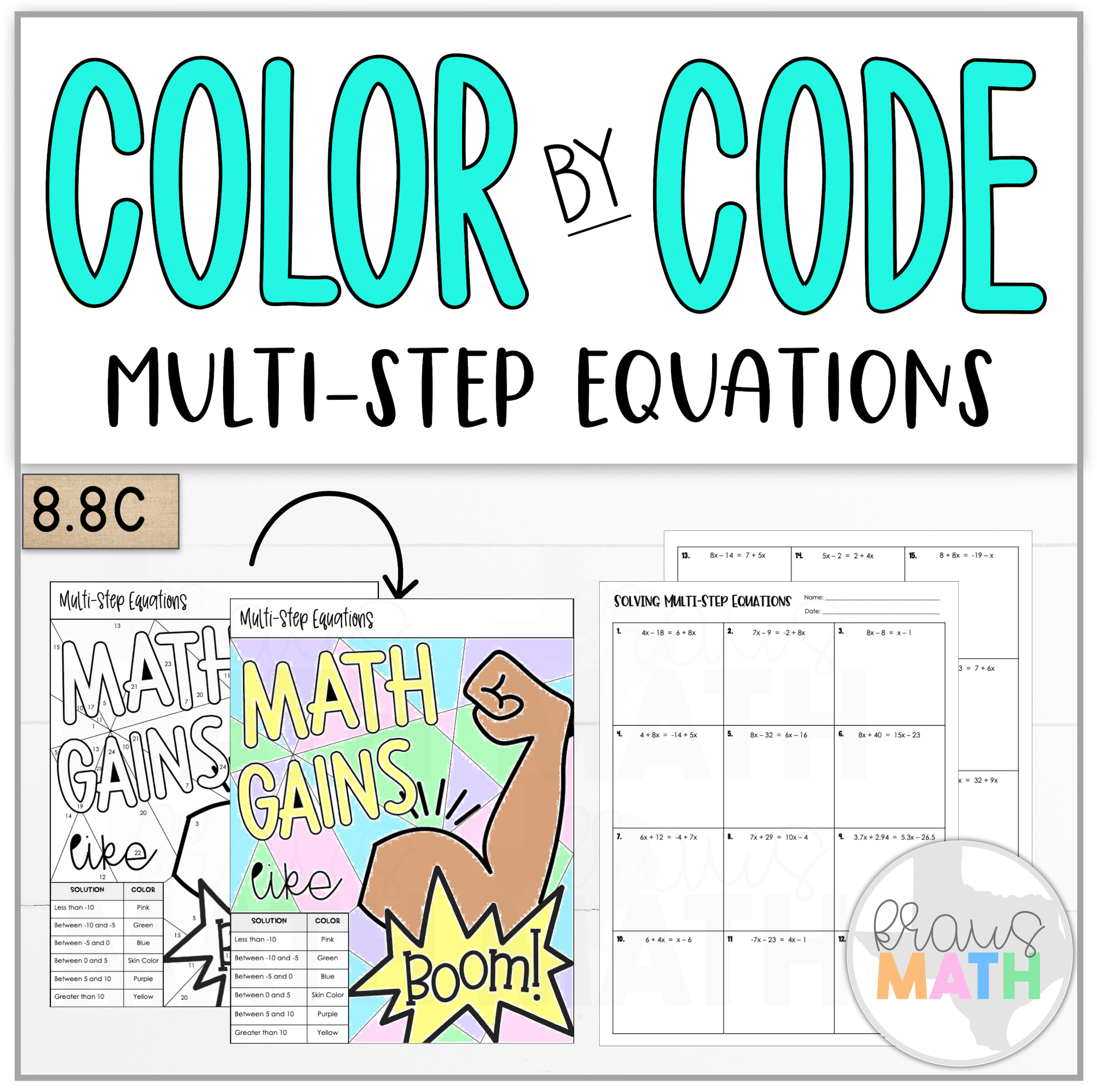 Color By Number Math Gains Multi Step Equations Teks 8