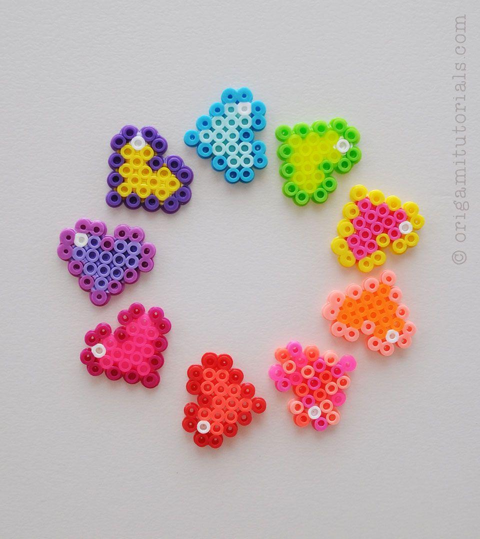 Perler Bead Rainbow heart made with Heart shaped Peg Board ... |Perler Bead Heart