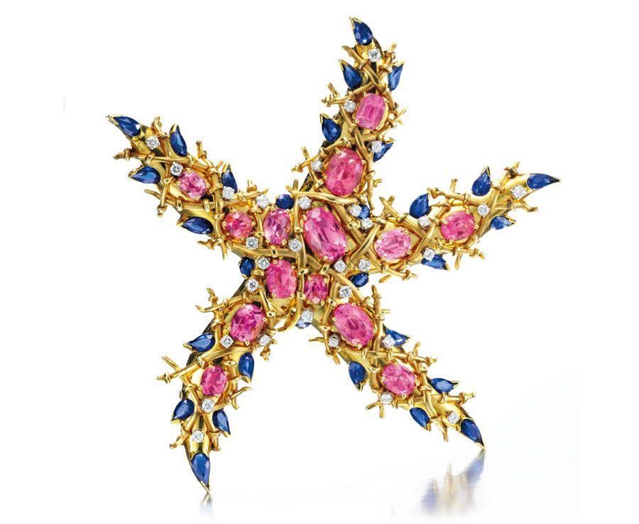 A tourmaline, sapphire and diamond starfish brooch, by Jean Schlumberger, circa 1945.