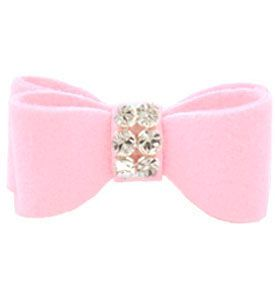 Dog Hair Bow Puppy Pink Ultrasuede Giltmore Swarovski Crystal Dog Extra Small    Price: $15.99