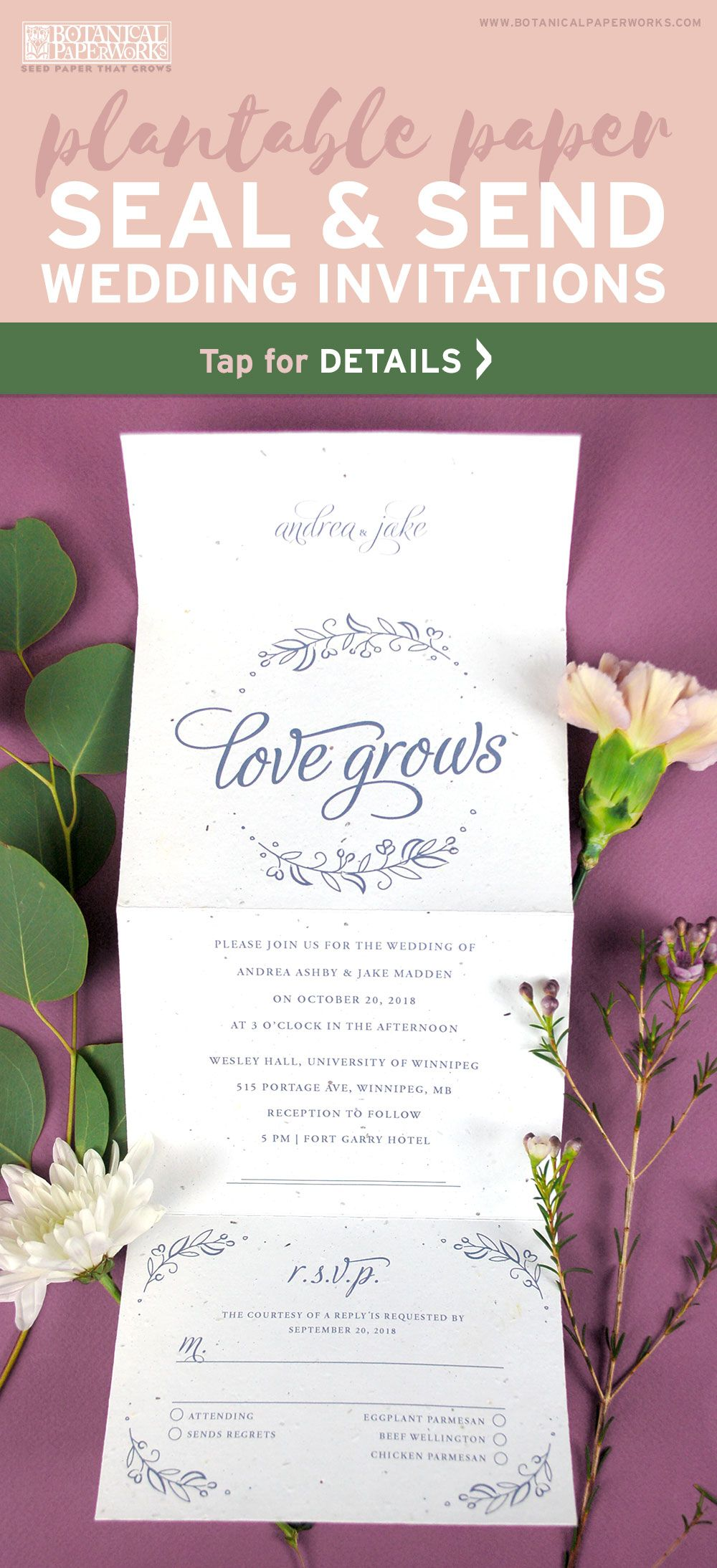 Seeds Of Love Seal And Send Wedding Invitation Green Themed Wedding Wedding Invitations Invitations