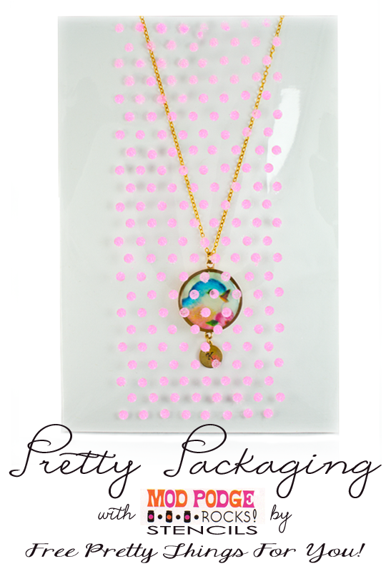 Pretty Packaging with Mod Podge Rocks Peel and Stick Stencils - Free Pretty Things For You #prettypackaging