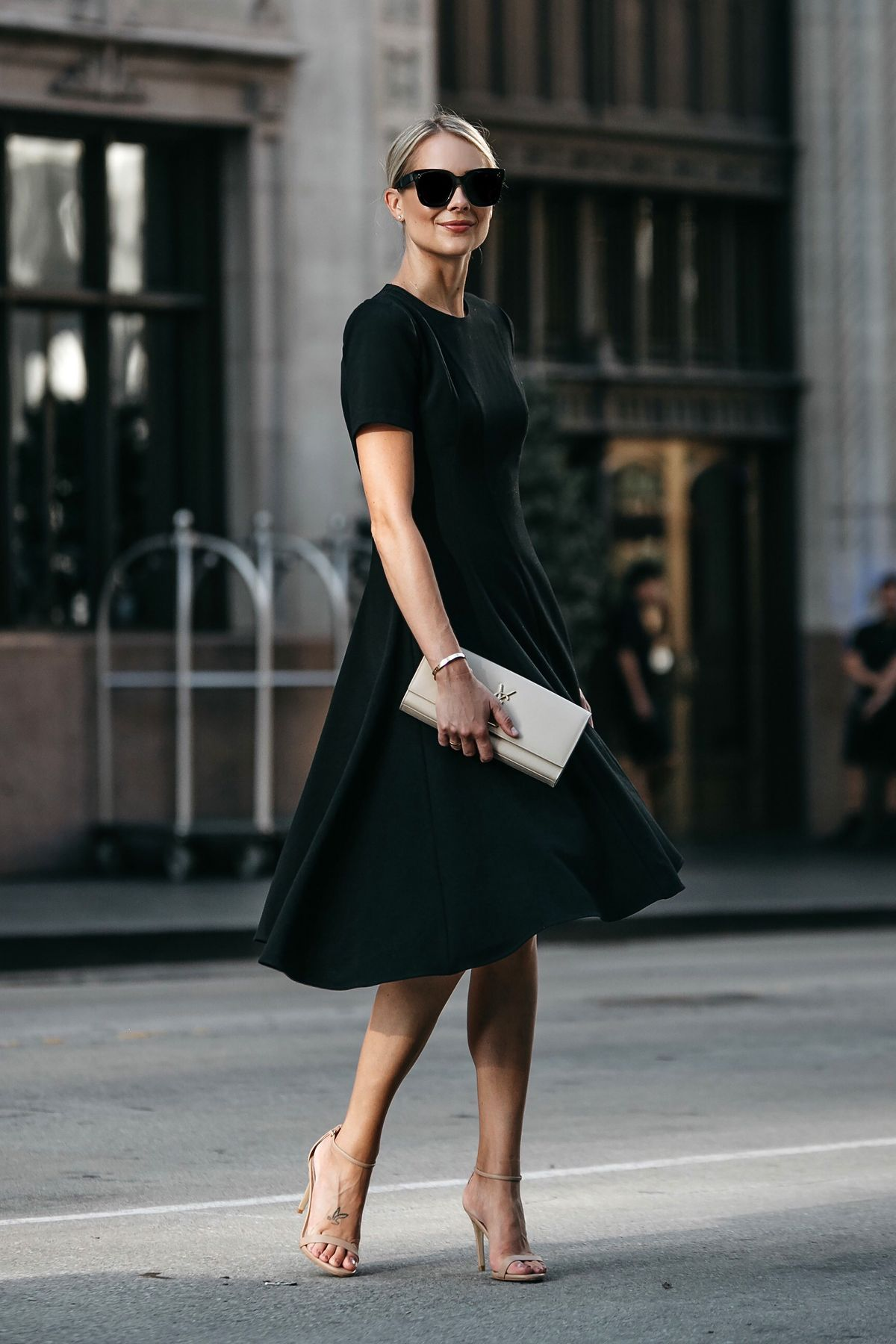 28d4cbdf03e Blonde Woman Wearing Black Halo Asymmetrical Little Black Dress ...