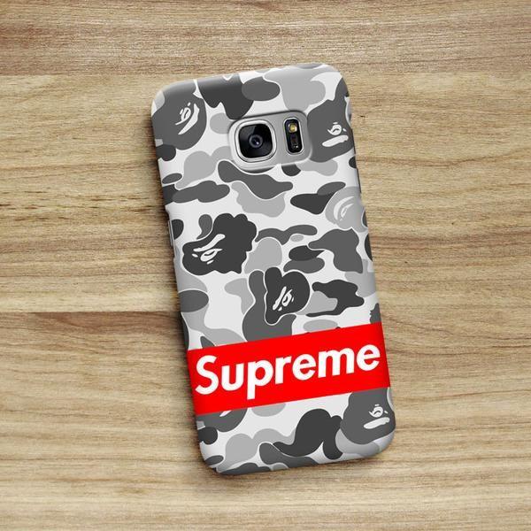low priced 67e53 946a5 Supreme Bape Camo Grey For Samsung Galaxy S6 S6 Edge S7 S7 Edge in ...