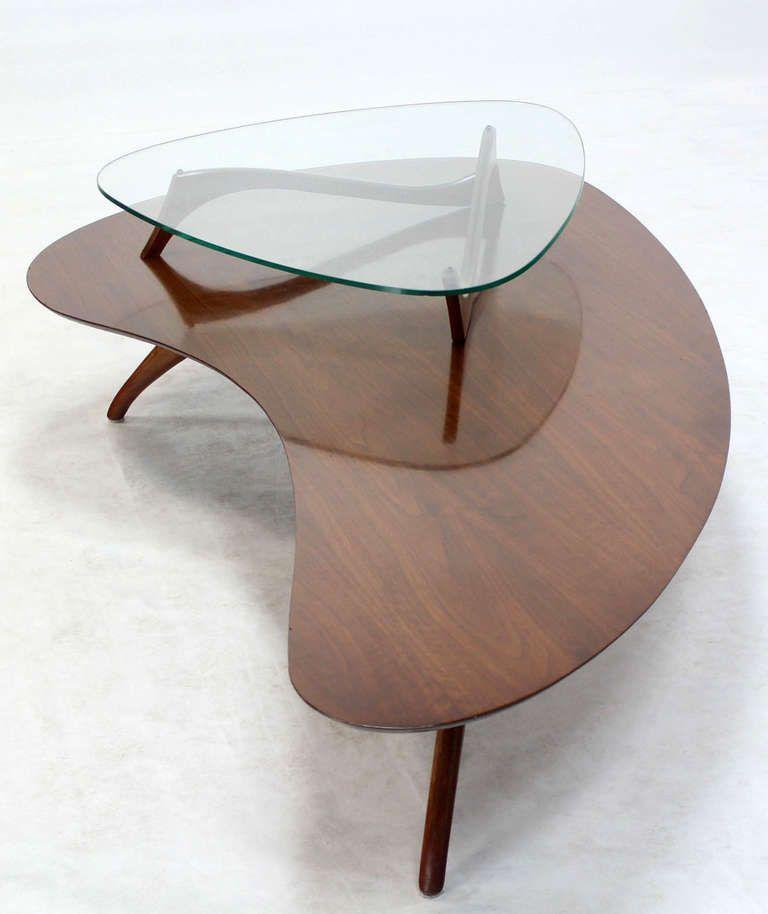 Mid Century Modern Kidney Organic Shape Walnut Coffee Table With