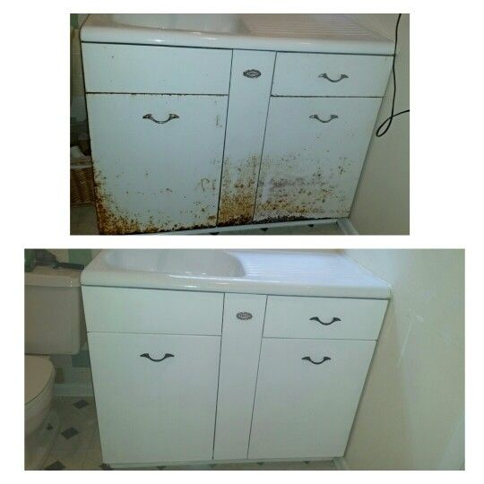 Old Metal And Cast Iron Ampco Sink I Redid Sanded Twice Primed 2 Coats And Painted 2 Coats Not Ea Metal Kitchen Cabinets Painting Metal Cabinets Metal Sink