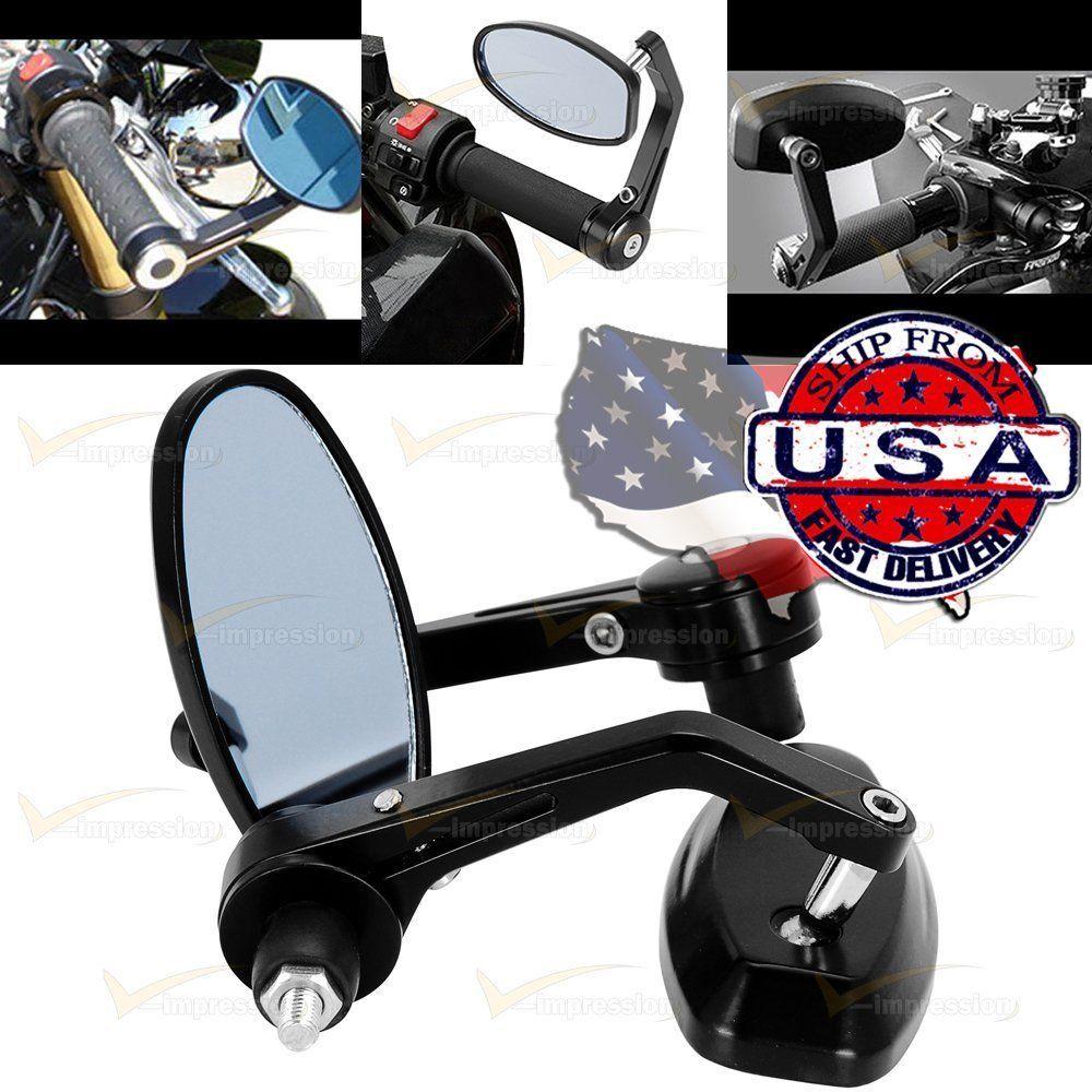 "Universal Black Adjustable 7/8"" Oval Bar End Side Blue Mirrors Custom Motorcycle #Vimpression"