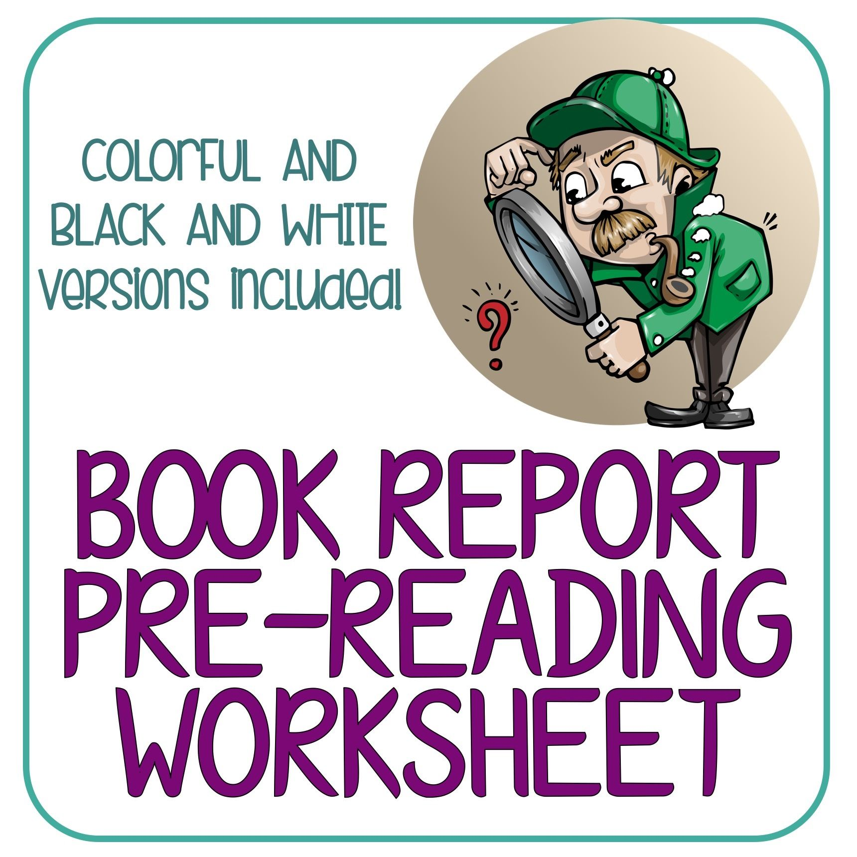 Book Report Pre Reading Worksheet