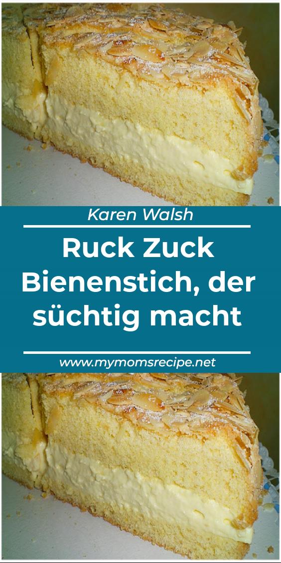 Ruck Zuck Bienenstich, der süchtig macht – Mymomsrecipe  – Kuchen und Backen