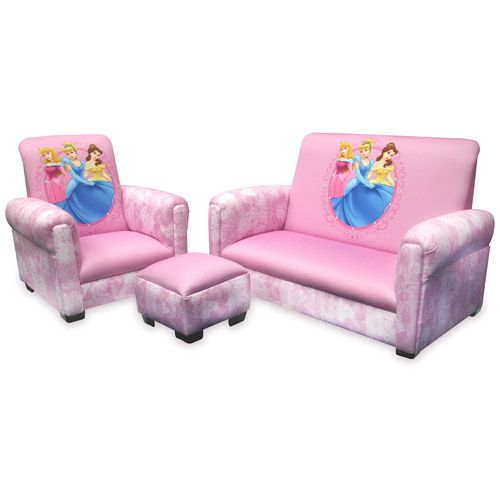 Disney Princess Hearts And Crowns Toddler Sofa Chair And Ottoman Set Toddler Sofa Kids Couch Kids Sofa
