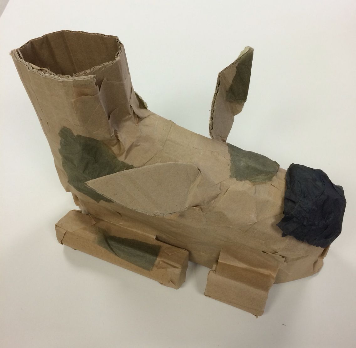 Surreal Shoe made from card,  gum strip and tissue paper. St Mary's Catholic High School 2016.