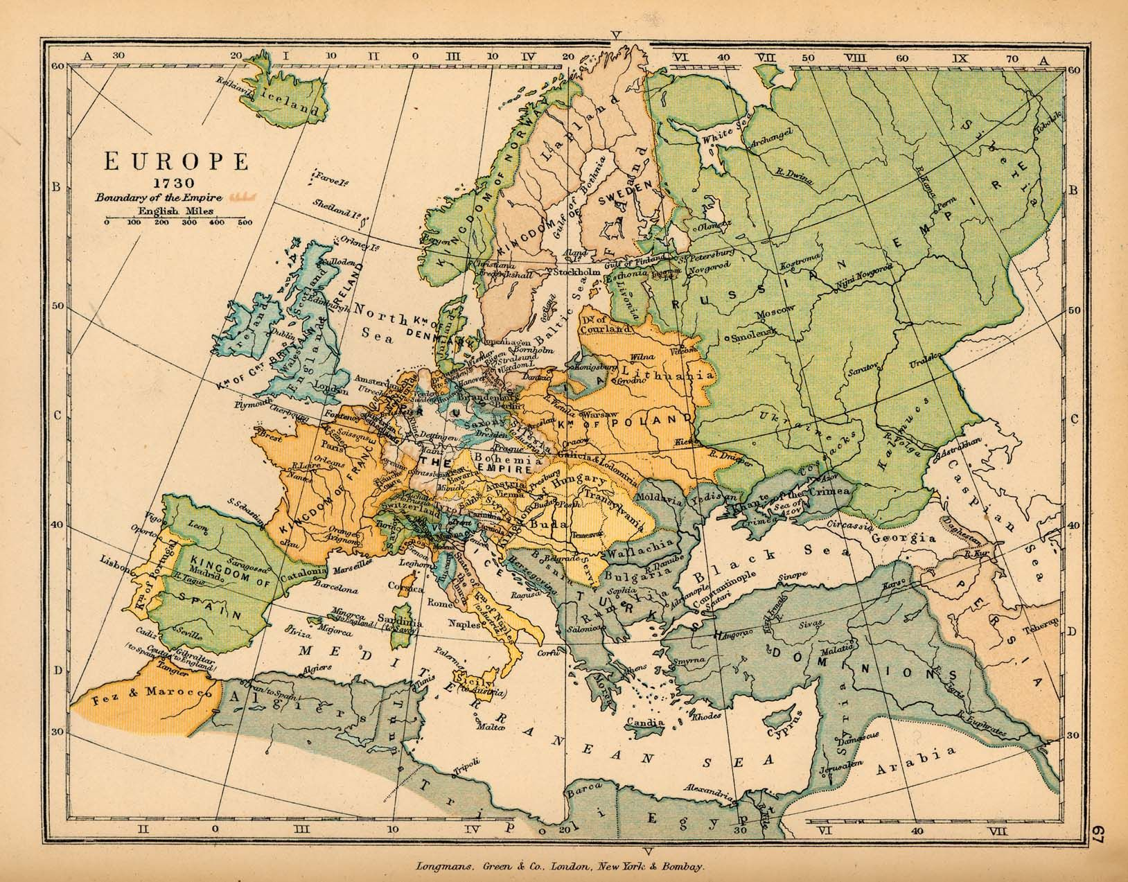 Historical Map of Europe in 1730 | Germany | Pinterest | History and ...