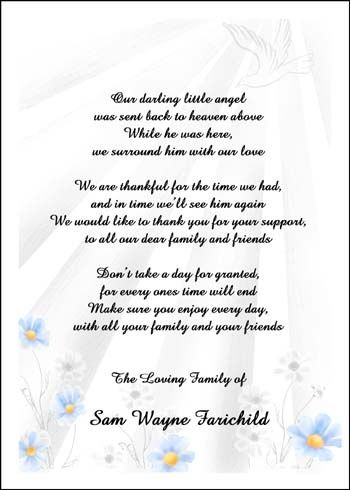 Wedding Program Thank You Examples Free Wordings For Bereavement Cards Discount To 99 Each