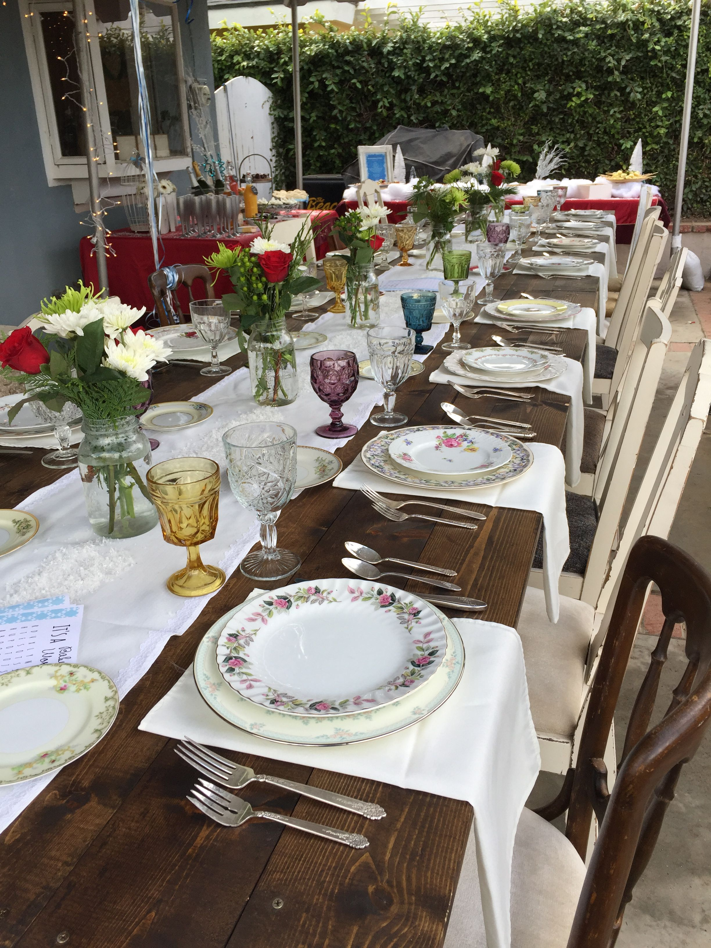 Farm Tables and assorted tableware for a baby shower