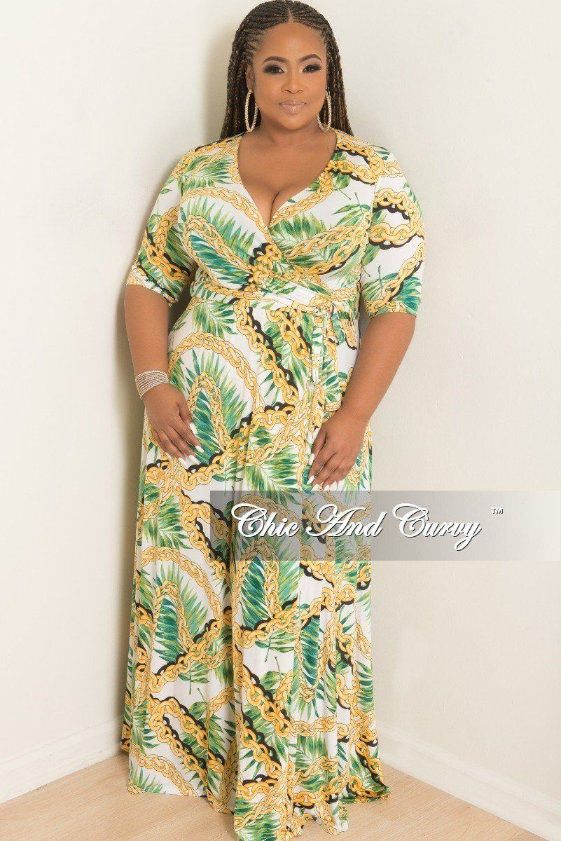 aa072acf328ea Plus Size Wrap Dress with 3/4 Sleeves and Tie in White Green – Chic And  Curvy