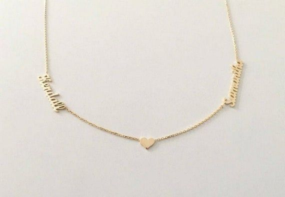 Two Name Necklace Gold Name Necklace Silver Name Necklace Heart Names Neckalce Personalized Jewelry Personalized Gifts Gold Bar Necklace Gold Name Necklace Diamond Bar Necklace
