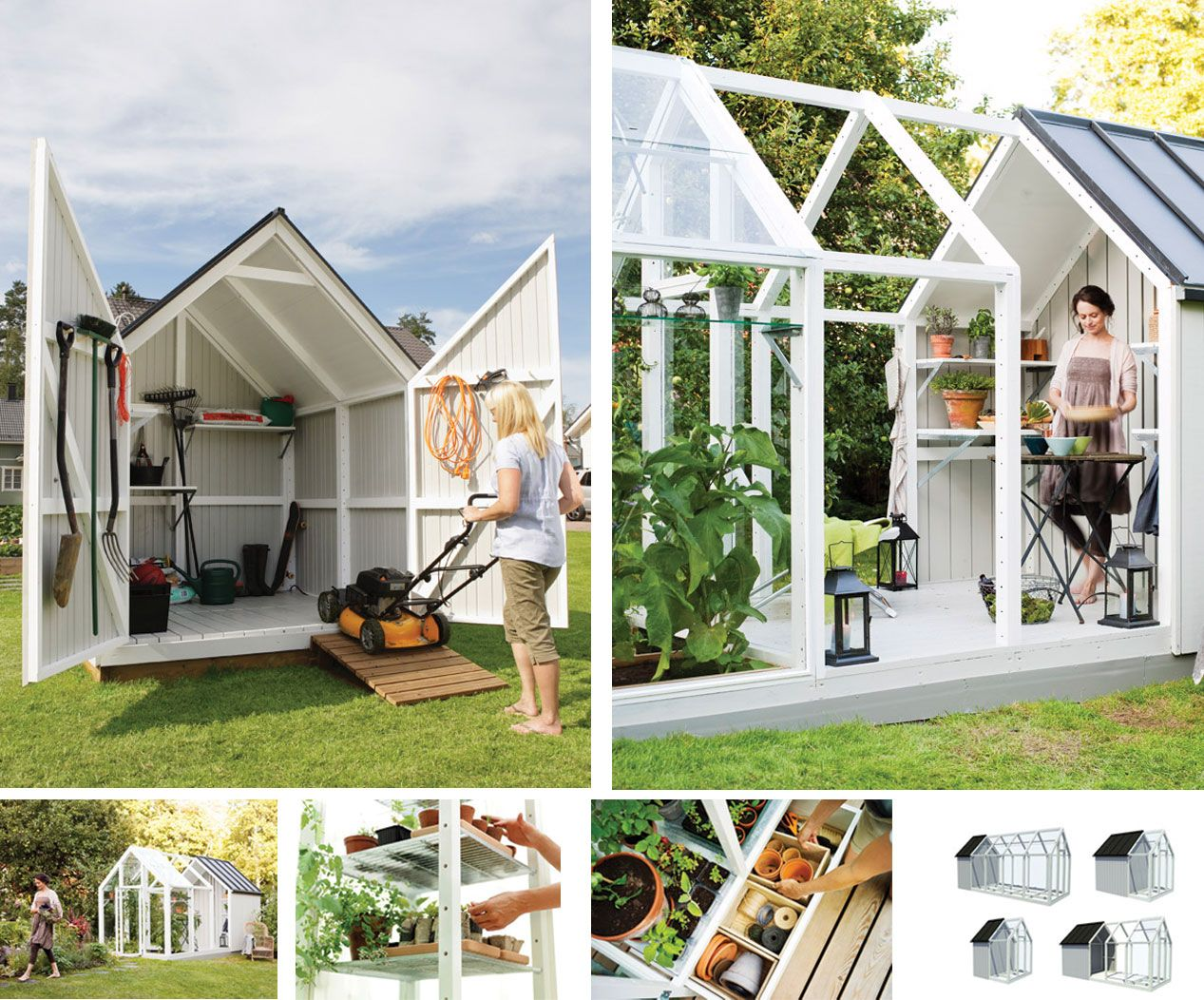 Modern Shed and greenhouse Flowers and Gardens and Patios