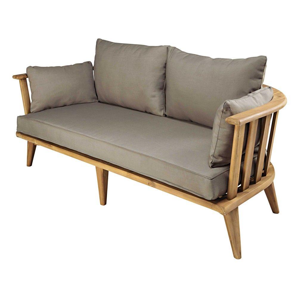 Gartenbank 2 3 Sitzer Aus Massivem Akazienholz Und Taupefarbenen Kissen Maisons Du Monde Garden Bench Sunroom Furniture Garden Sofa