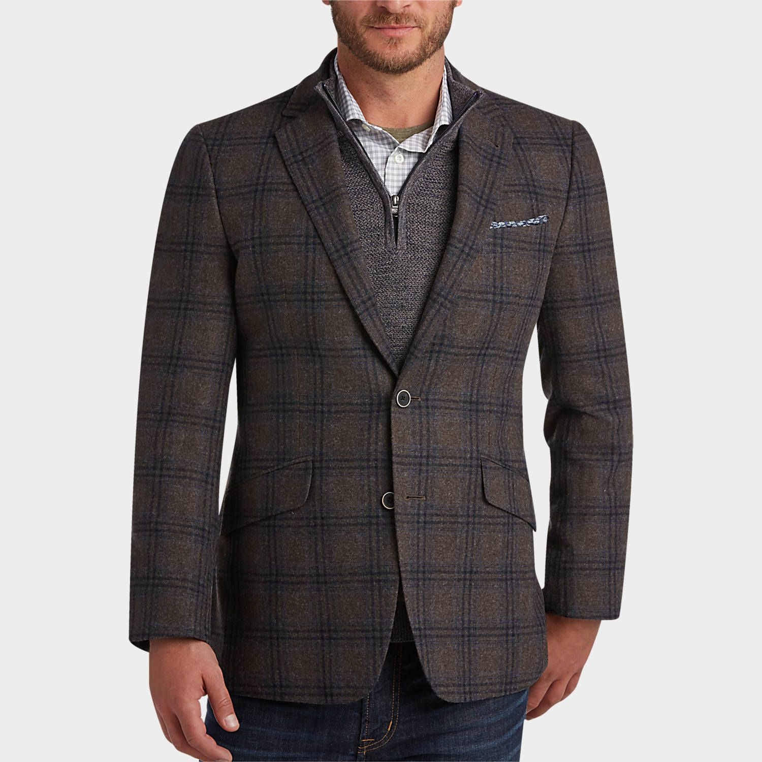 d2e08564c9f5f Buy a Joseph Abboud Brown   Navy Plaid Modern Fit Sport Coat and other  Blazers at Men s Wearhouse. Browse the latest styles