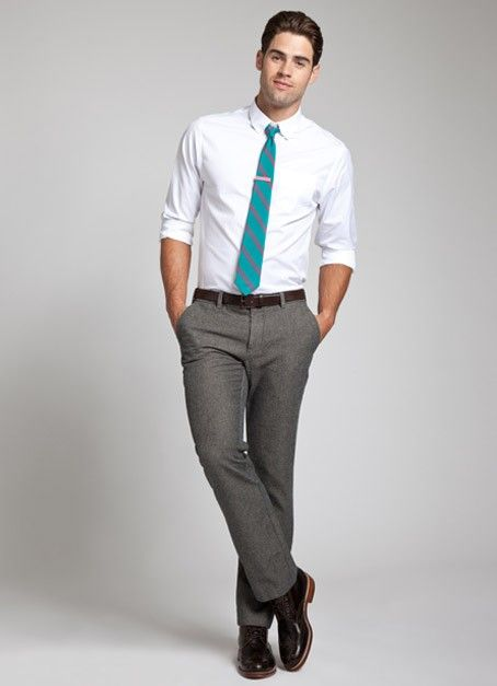 Bonobos Grey pants, white shirt, bright tie | Wedding | Pinterest ...