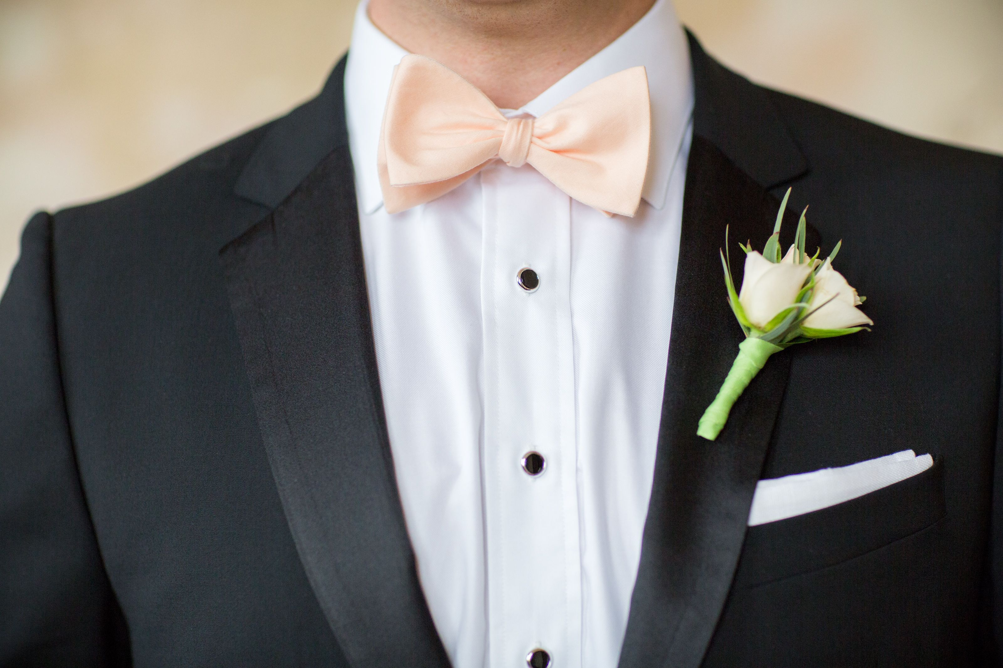 88ef8a01200c Classic Black Tuxedo with Soft Peach Bow Tie | Wedding in 2019 ...