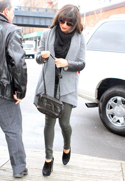 7267a75eba01 Lea Michelle carries a black Givenchy Mini Pandora Bag in NYC (1 ...