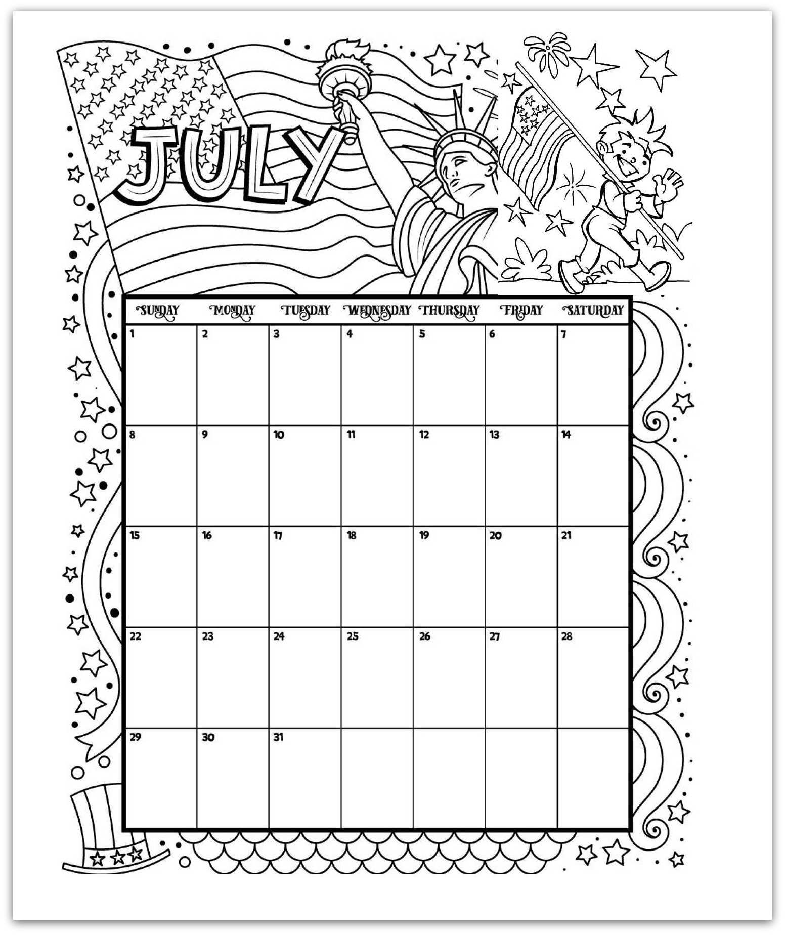 july 2019 coloring page printable