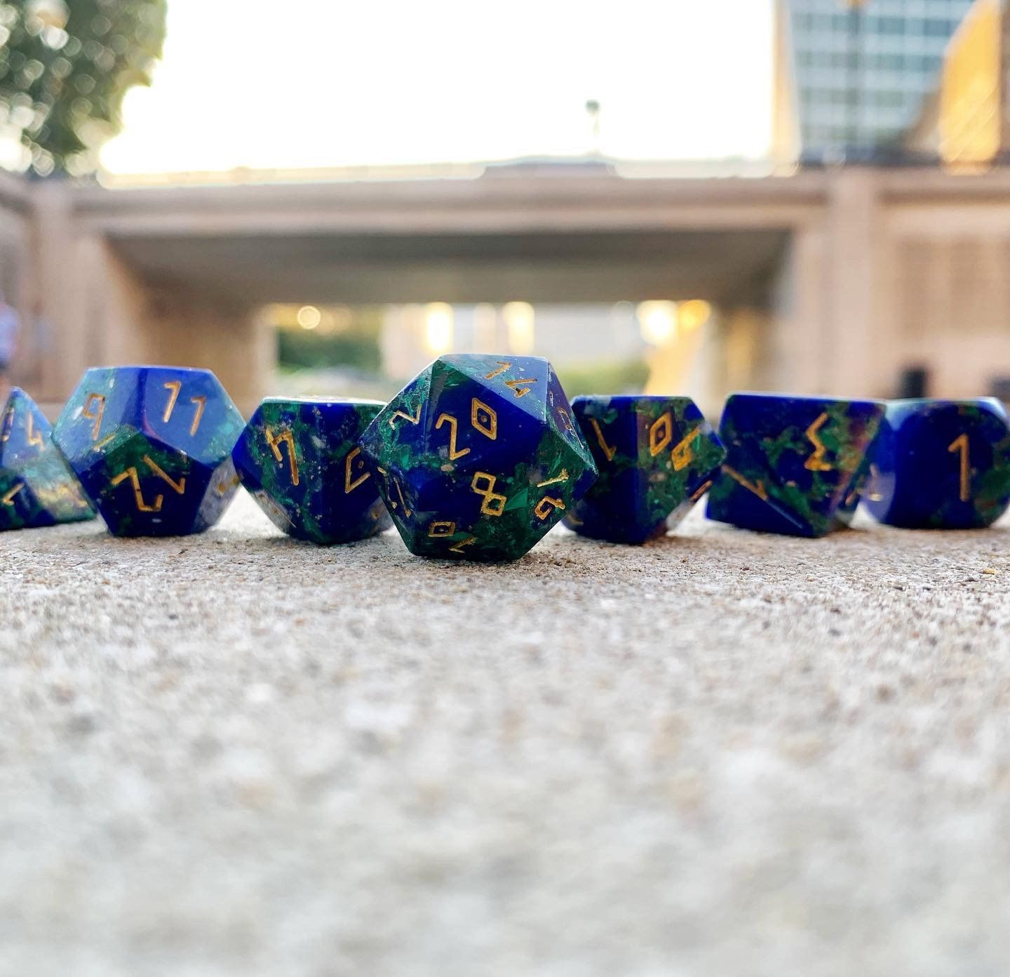 Trustone Cnc Lapis Malachite 7 Piece Rpg Dice Set Gemstone Norse Foundry In 2020 Rpg Malachite Gemstones Along with other accessories such as rpg coins and accessories. pinterest