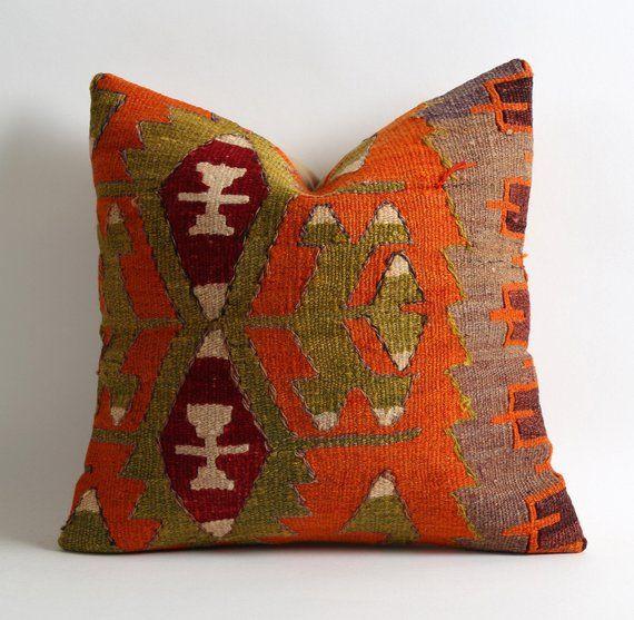 Photo of indie decor, boho decor, home decor, bohemian decor, 16×16 kilim pillow cover, cottage pillow, orange green red