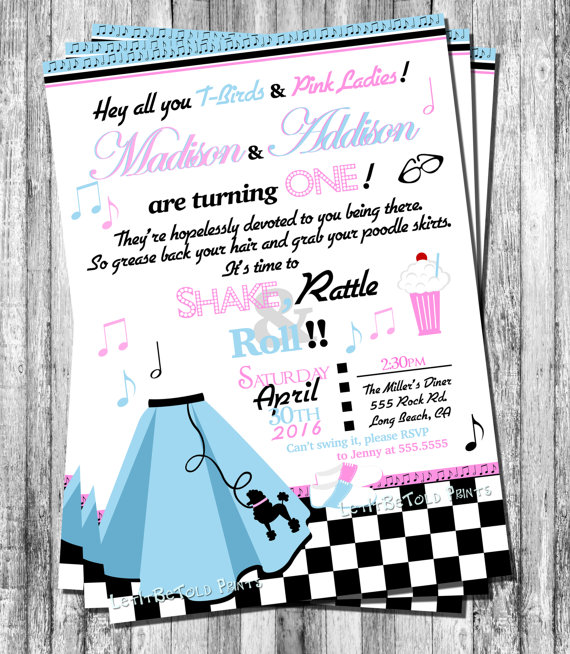 Sock Hop Twin Girls 1st Birthday Invitation 2nd Birthday Any