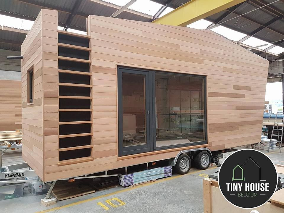 a sleek modern tiny house on wheels designed by tiny house belgium for the pop up hotel. Black Bedroom Furniture Sets. Home Design Ideas