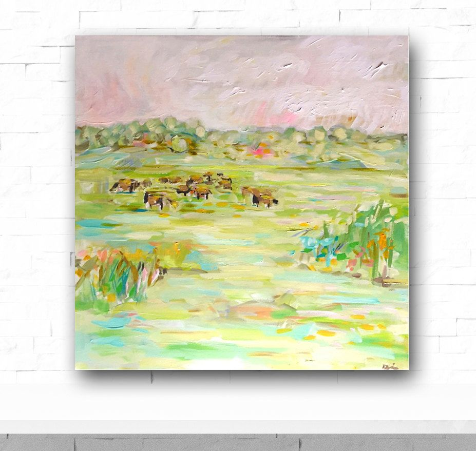 Texas hill country, painting, Austin, original Cow Abstract Painting ...